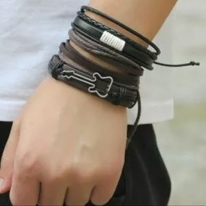 Other - 3 Stacking Leather Rope Bracelet's - Men's Guitar